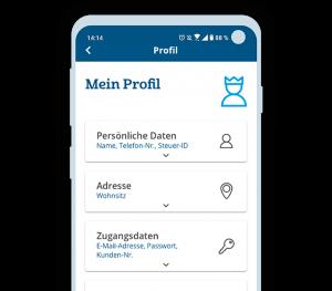 Profil bearbeiten auxmoney App